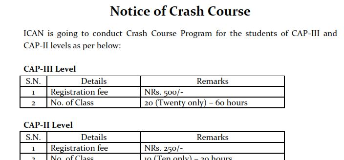 Notice Regarding the Crash Course of CAP II and CAP III