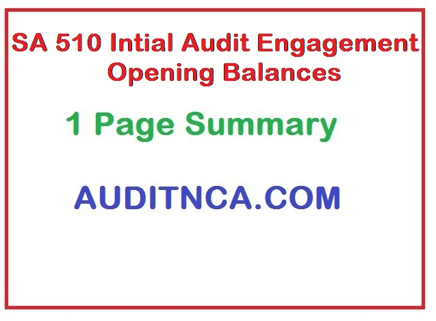 SA 510 Auditing Standards on Initial Audit Engagement Opening Balance