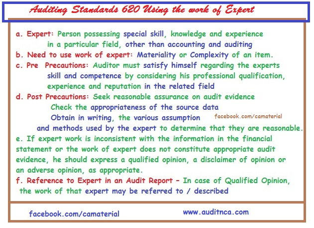 Summary of Auditing Standards 620 Using the work of Expert