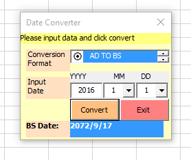 Form to convert through date